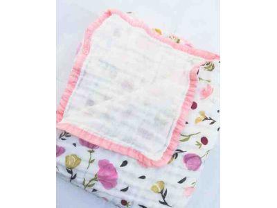 Марлевая муслиновая пеленка Двойная 120*120 - Розовые цветы купить в интернет-магазине «Берегиня» Украина