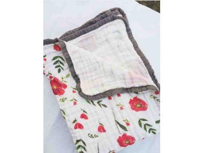 Марлевая муслиновая пеленка Двойная 120*120 - Маки купить в интернет-магазине «Берегиня» Украина