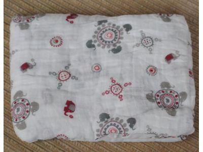 Марлевые муслиновые пеленки 120*120 - Орнамент слоны розовые купить в интернет-магазине «Берегиня» Украина