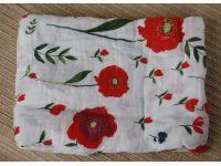 Марлевые муслиновые пеленки 120*120 - Маки купить в интернет-магазине «Берегиня» Украина