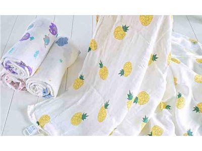 Марлевые муслиновые пеленки 120*120 - Ананасы купить в интернет-магазине «Берегиня» Украина