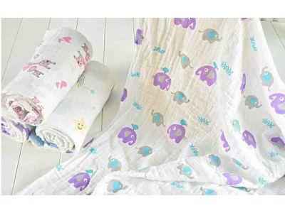 Марлевые муслиновые пеленки 120*120 - Фиолетовые слоны купить в интернет-магазине «Берегиня» Украина