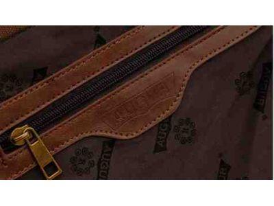 Мужская сумка барсетка из хлопка и вставками из натуральной кожи K013 коричневая купить в интернет-магазине «Берегиня» Украина