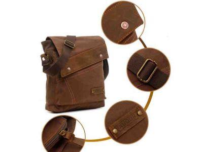Мужская сумка барсетка из хлопка и вставками из натуральной кожи K013 хаки купить в интернет-магазине «Берегиня» Украина