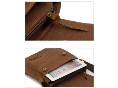 Мужская сумка барсетка из хлопка и вставками из натуральной кожи K013 песочная купить в интернет-магазине «Берегиня» Украина