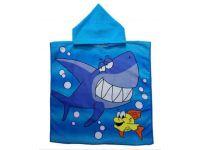 Пляжное полотенце пончо - Акула на голубом купить в интернет-магазине «Берегиня» Украина
