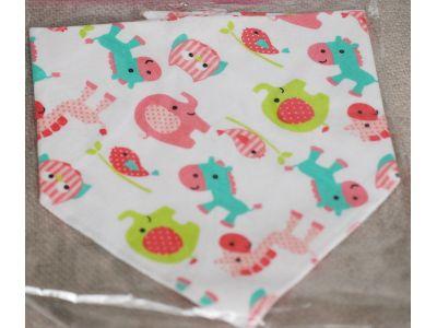 Слюнявчик, нагрудник, арафатка на кнопке - Розовые слоники купить в интернет-магазине «Берегиня» Украина