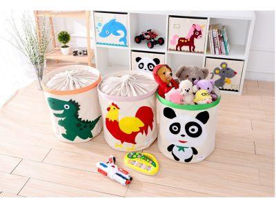 Корзина для игрушек хлопок с аппликацией - Зеленый Динозавр купить в интернет-магазине «Берегиня» Украина