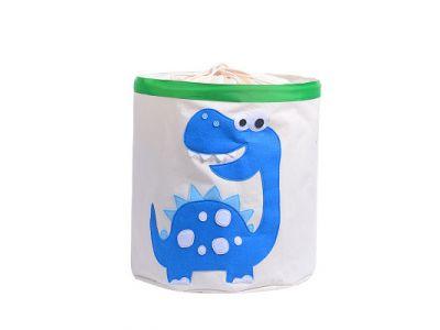 Корзина для игрушек хлопок с аппликацией - Голубой динозавр купить в интернет-магазине «Берегиня» Украина