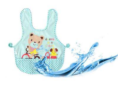 Хлопковый слюнявчик фартук с карманом - Зверушки синий купить в интернет-магазине «Берегиня» Украина